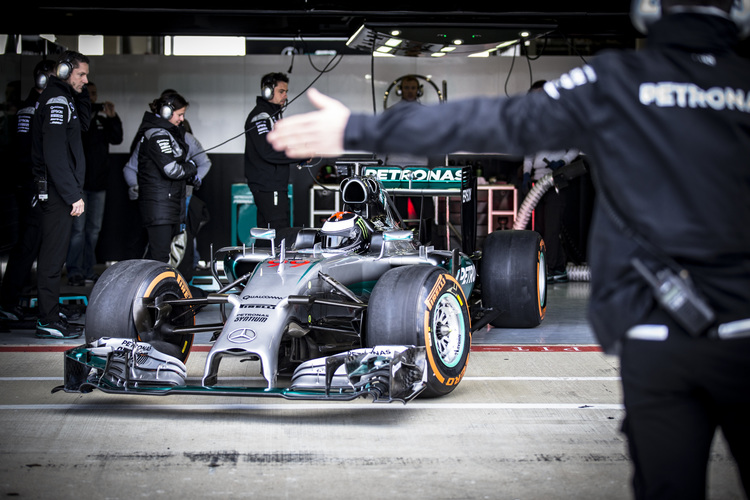 Jorge Lorenzo tested the W05 at Silverstone - Credit: Daimler Media / Mercedes Motorsport