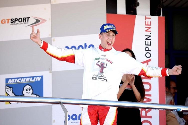 Leonardo Pulcini Celebrates on the podium - Credit: FOTOSPEEDY
