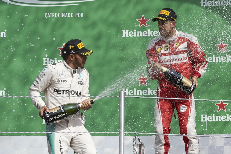 Lewis Hamilton and Sebastian Vettel - Credit: Mercedes AMG Petronas Formula One Team