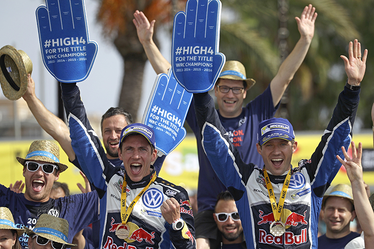 Ogier Four WRC Titles 2016 Rally RACC Podium