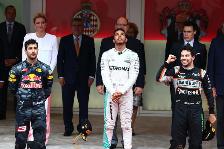 The podium (L to R): Daniel Ricciardo (AUS) Red Bull Racing, second; Lewis Hamilton (GBR) Mercedes AMG F1, race winner; Sergio Perez (MEX) Sahara Force India F1, third. Monaco Grand Prix, Sunday 29th May 2016. Monte Carlo, Monaco. Credit: Sahara Force India