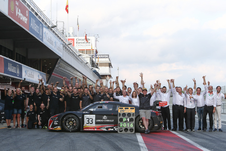 Ide and the Belgian Audi Club Team WRT crew celebrate their victory in the Barcelona pit lane (Credit: Olivier Beroud/Vision Sport Agency)