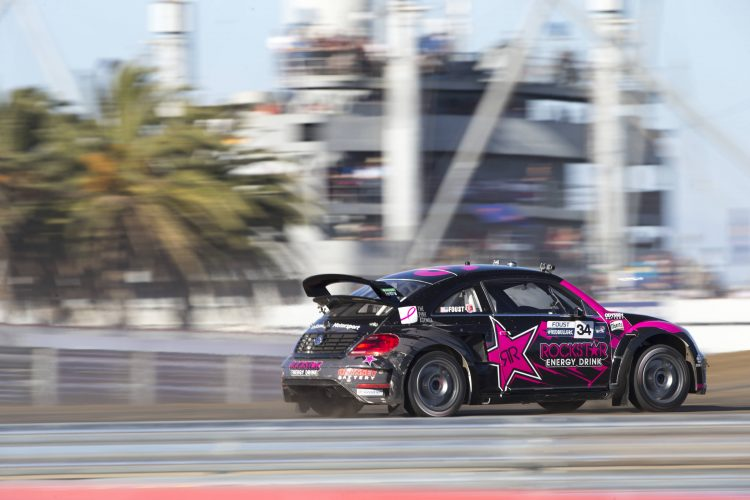 Tanner Foust had to work his way through the LCQ en route to the final - Credit: Louis Yio/Red Bull Global Rallycross
