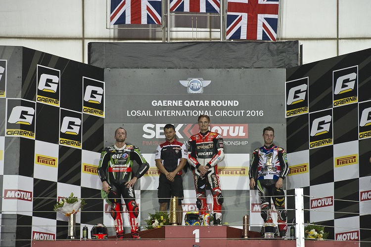 The podium finishers in race two (Photo Credit: Kawasaki)