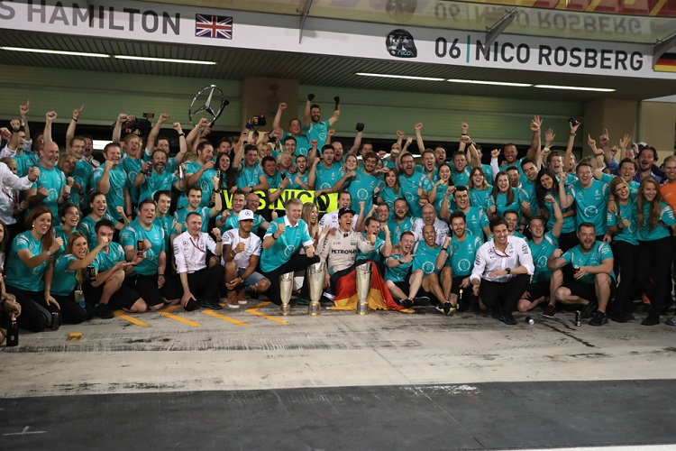 The Mercedes AMG Petronas Formula One Team celebrate - Credit: Octane Photographic Ltd