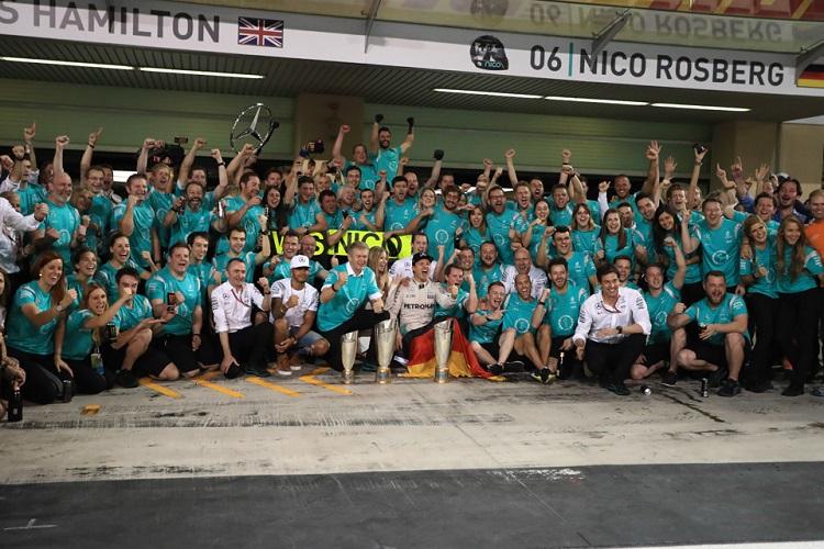 The Mercedes AMG Petronas Formula One Team celebrate - Credit: Octane Photographic Ltd