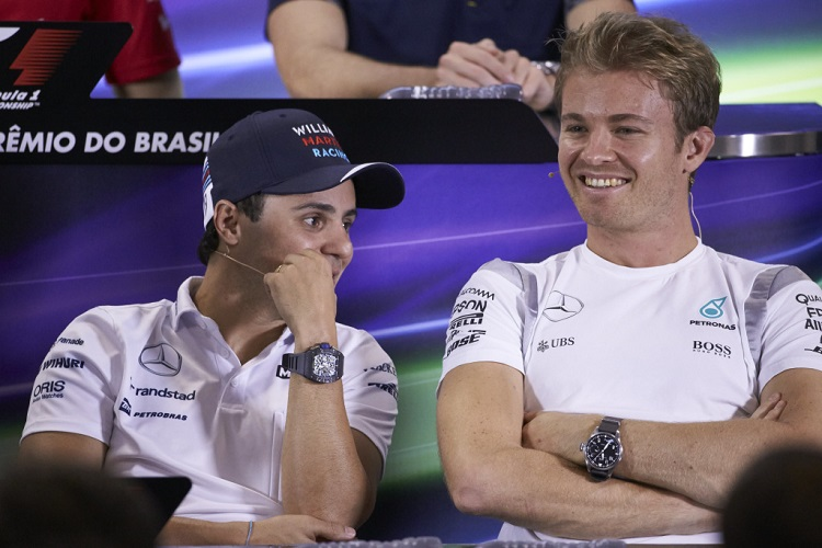 Nico Rosberg with Felipe Massa - Credit: Mercedes AMG Petronas Formula One Team
