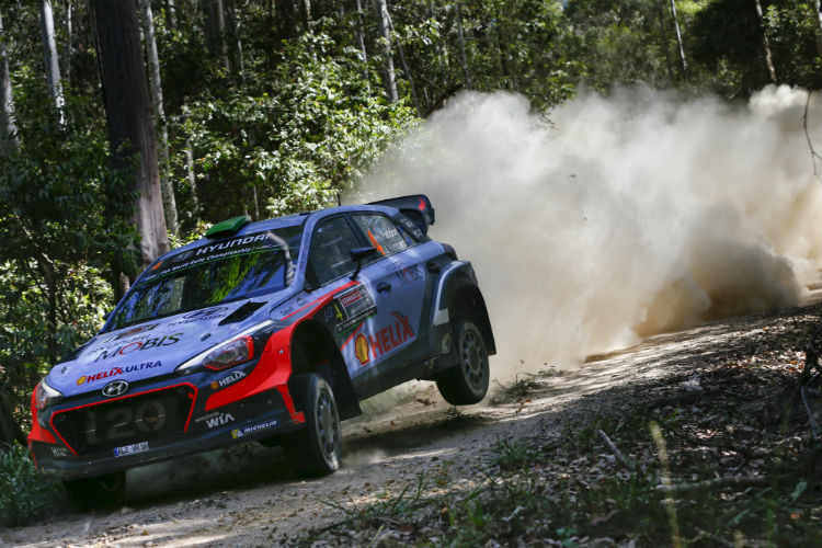 Hayden Paddon lead Hyundai's early charge but dropped back due to bad tyre choice.
