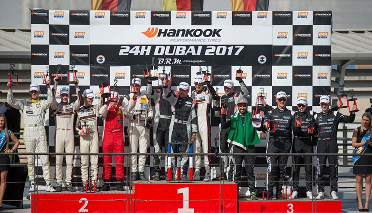 The 2017 Dubai 24H podium - Credit: Porsche AG