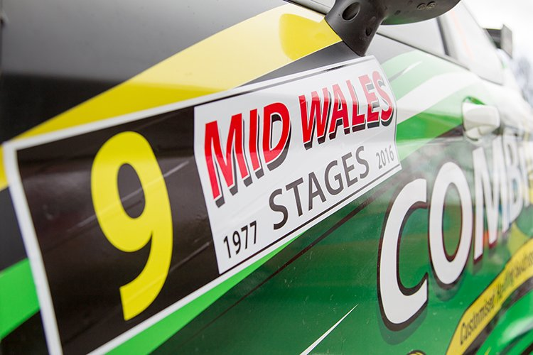 The number board of a competitor in the Mid Wales Stages Rally 2016.