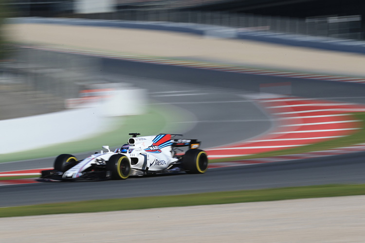Lance Stroll on track in Barcelona - Credit: Octane Photographic Ltd.