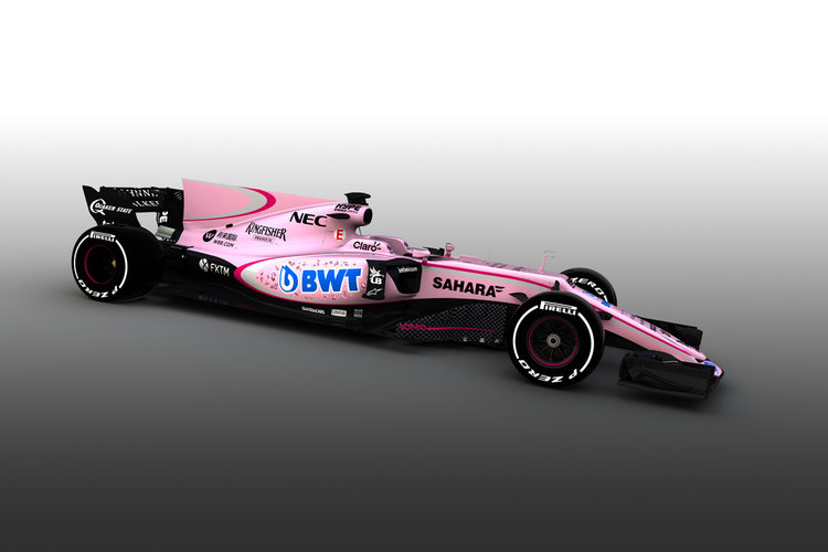 Force India reveal new pink livery for 2017 Formula One auto