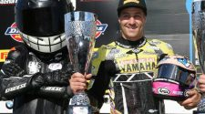 Josh Brookes on the podium at Snetterton