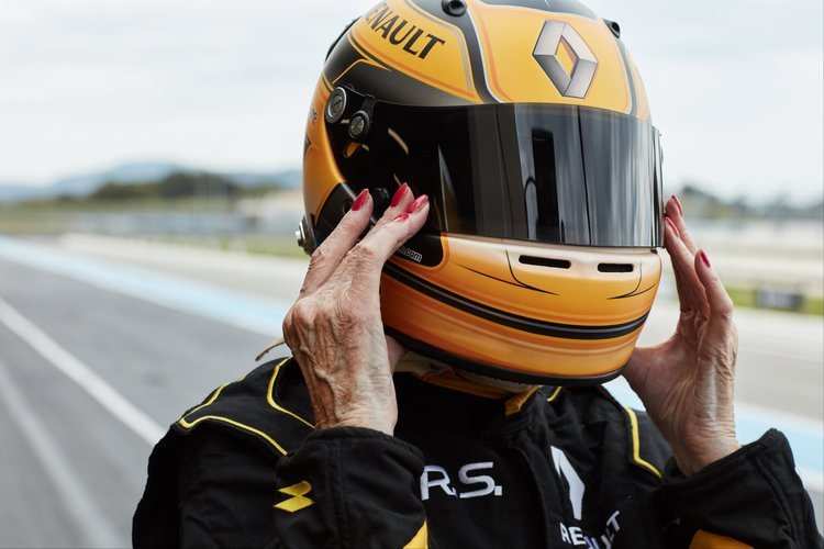 It's never too late: Rosemary Smith (79) drives a Renault Sport F1 Team car
