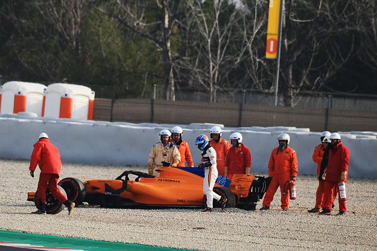 Fernando Alonso in the gravel trap at Barcelona testing