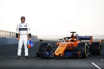 Fernando Alonso with the McLaren Renault MCL33