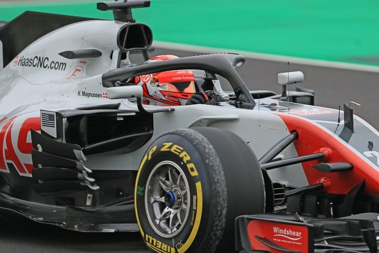 Kevin Magnussen had his first test day in the VF-18 on Tuesday