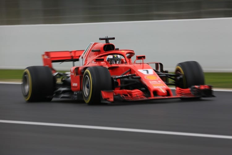 Kimi Raikkonen ended third fastest on Monday