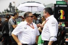 Zak Brown (left) has confidence in Renault helping McLaren move forward in 2018