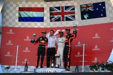 Max Verstappen and Daniel Ricciardo on the podium in Suzuka