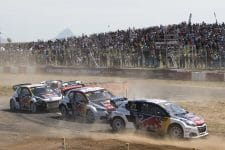 Timmy and Kevin Hansen battling with team-mate Sebastien Loeb