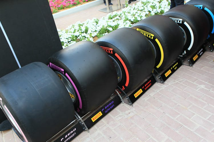 A line-up of Pirelli tyres