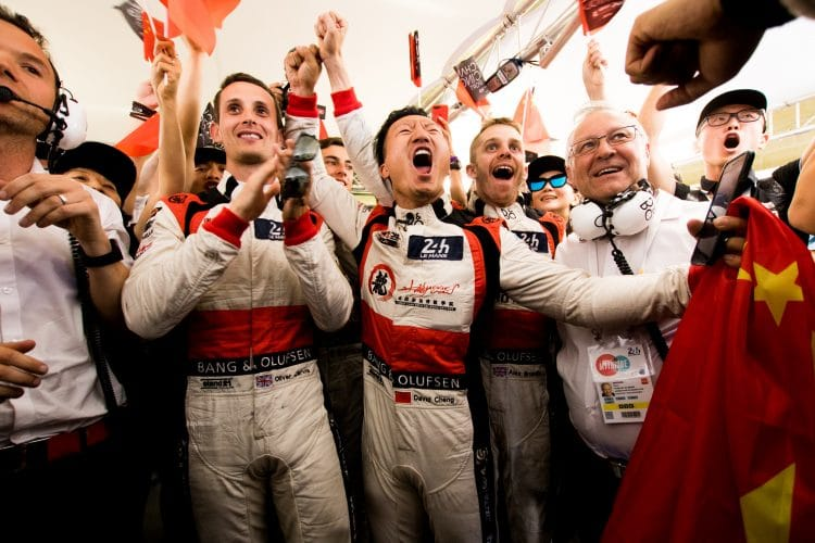 The #37 Jackie Chan DC Racing crew celebrated class victory at the 2017 24 Hours of Le Mans that was almost the overall win.