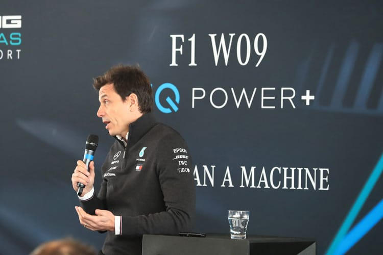 Mercedes' Toto Wolff addresses the crowd at the launch of their 2019 Formula 1 car