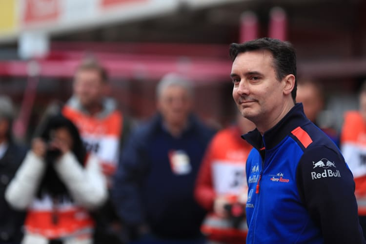 James Key stands in the pit lane of the Circuit de Barcelona-Catalunya during pre-season testing