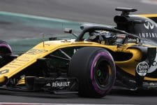 Nico Hulkenberg drives his Renault car at pre-season testing