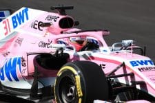 Esteban Ocon drives his pink-liveried VJM11 on the final day of pre-season testing