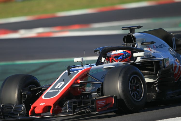Romain Grosjean during 2018 winter testing in Barcelona.