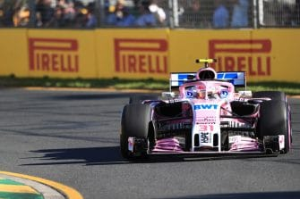 Esteban Ocon drives a Force India F1 car in Australia