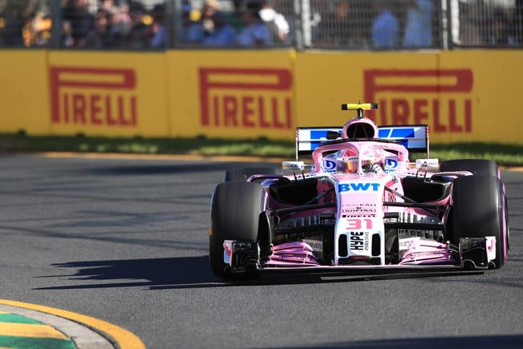 Esteban Ocon drives a Force India F1 car in Australia