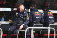 Christian Horner sits on the pit wall