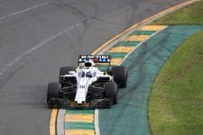 Lance Stroll drives a Williams Martini Racing car through the second turn of Australia's Albert Park circuit