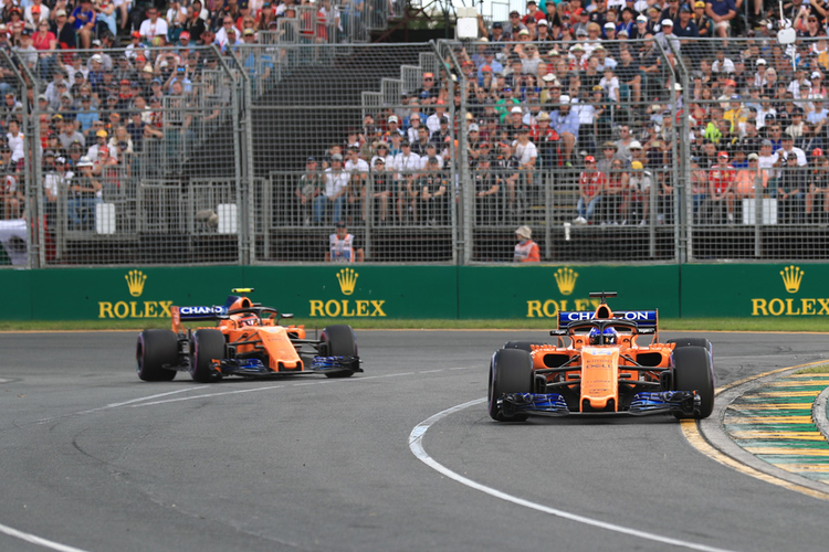 Both McLaren's during the Australian GP 2018