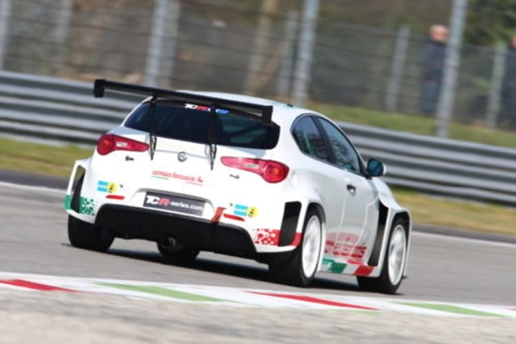 The Alfa Romeo Giulietta TCR in action at a Monza test session.