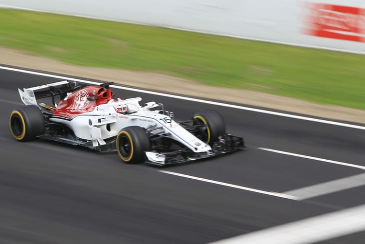 Charles Leclerc driving in the 1st Barcelona Test