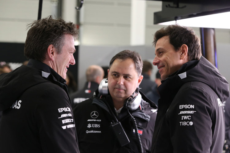 Toto Wolff and James Allison have a laugh at the launch of the new Mercedes car
