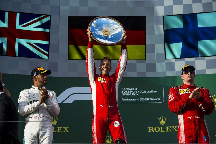 Vettel, Hamilton & Raikkonen on podium