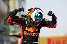 ace winner Daniel Ricciardo of Australia and Red Bull Racing celebrates in parc ferme during the Formula One Grand Prix of China at Shanghai