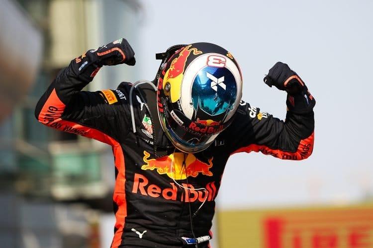 ace winner Daniel Ricciardo of Australia and Red Bull Racing celebrates in parc ferme during the Formula One Grand Prix of China at Shanghai
