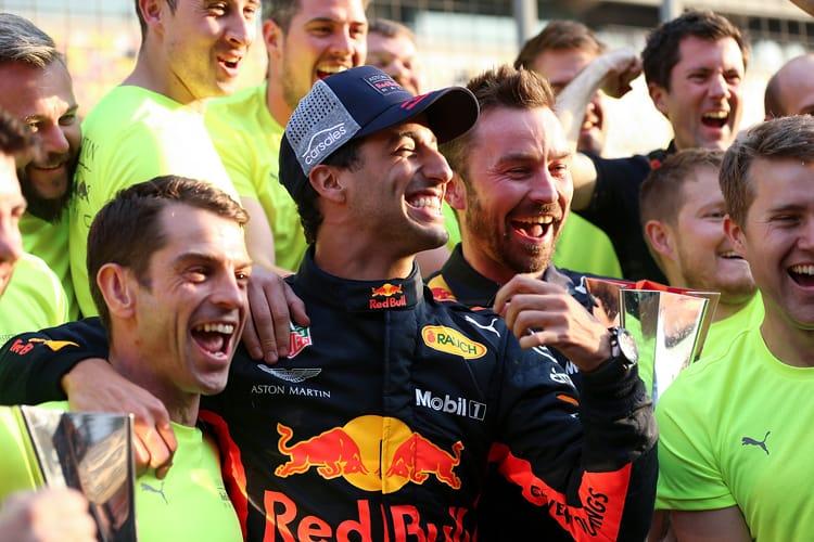 Daniel Ricciardo and the Red Bull Team look happy after Ricciardo's Chinese Grand Prix win