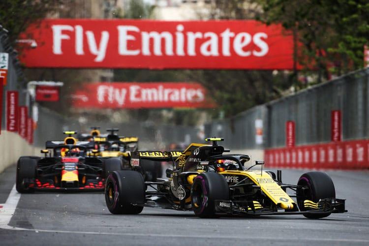 Carlos Sainz Jr. leads both Red Bulls during the Azerbaijan Grand Prix