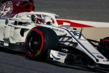Charles Leclerc drives around the Bahrain International Circuit
