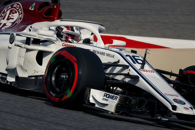 Charles Leclerc drives around the Bahrain International Circuit