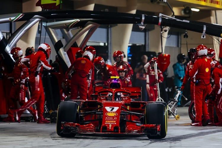 Kimi Raikkonen retired in Bahrain after an unsafe release by Ferrari