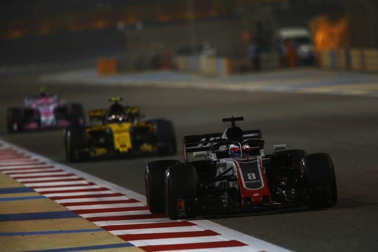 Romain Grosjean leading Carlos Sainz Jr at the 2018 Bahrain Grand Prix