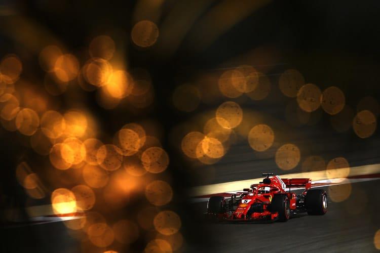 Sebastian Vettel drives in Bahrain